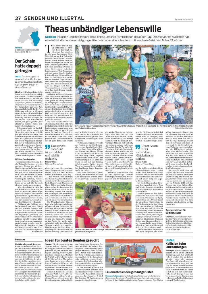 Artikel über Thea in der Südwest Presse